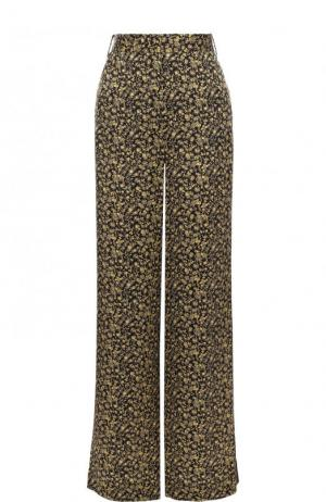 Шелковые расклешенные брюки с принтом Victoria, Victoria Beckham. Цвет: желтый