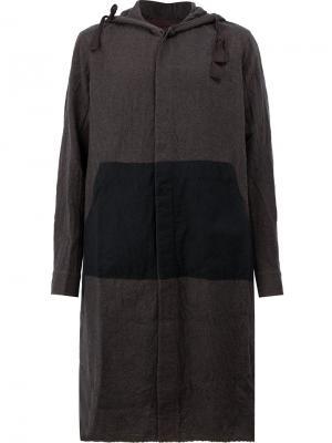 Однобортное пальто с капюшоном Ziggy Chen. Цвет: многоцветный