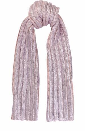 Шерстяной шарф с металлизированной отделкой Catya. Цвет: светло-розовый