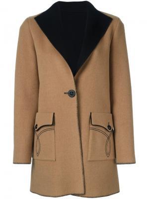 Однобортное пальто Fausto Puglisi. Цвет: телесный