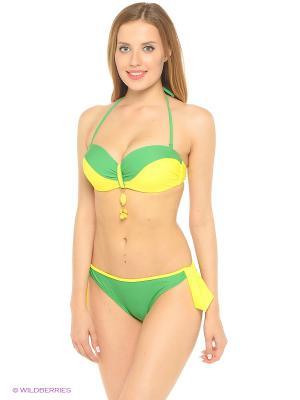 Купальный костюм FIANETA. Цвет: зеленый, желтый
