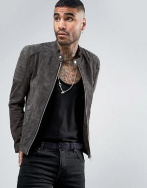 Goosecraft Замшевая байкерская куртка серого цвета. Цвет: серый