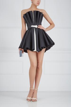 Шелковое платье-бюстье Ester Abner. Цвет: черный, белый