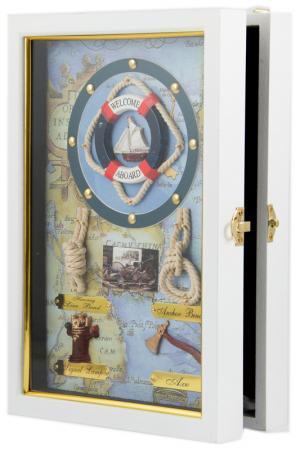 Коллаж-ключница Парусник Русские подарки. Цвет: синий, черный, голубой