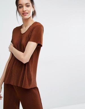 Just Female Плиссированная футболка Quint. Цвет: коричневый