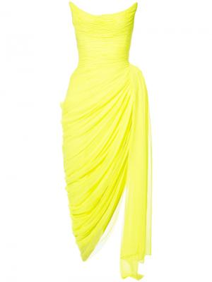 Strapless draped split gown Oscar de la Renta. Цвет: жёлтый и оранжевый