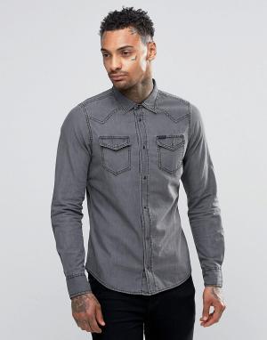 Diesel Светлая джинсовая рубашка в стиле вестерн New-Sonora-E. Цвет: серый