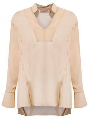 Рубашка с V-образным вырезом Adriana Degreas. Цвет: телесный