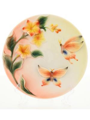 Тарелка декоративная Лето Elan Gallery. Цвет: бежевый, розовый