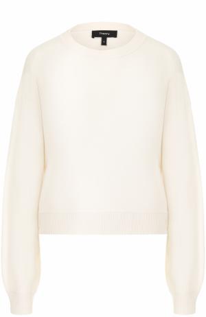 Вязаный шелковый пуловер Theory. Цвет: белый