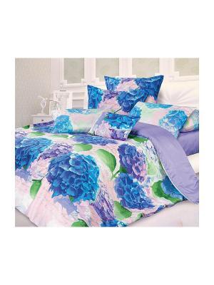 Постельное белье Романтика. Цвет: голубой, светло-коричневый, белый