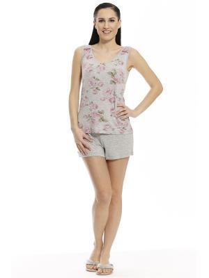 Пижама с шортами RELAX MODE. Цвет: серый меланж