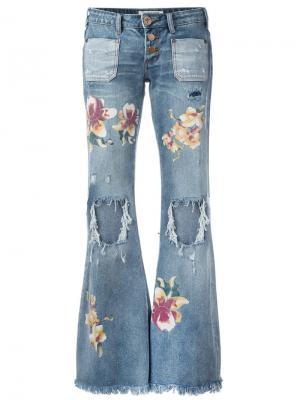 Расклешенные джинсы с принтом орхидей One Teaspoon. Цвет: синий