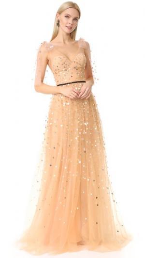 Вечернее платье из тюля с V-образным вырезом Monique Lhuillier. Цвет: розовый