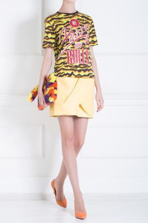 Кожаная юбка Balmain. Цвет: пастельный желтый