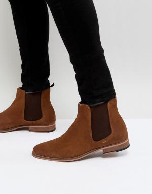 WALK LONDON Светло-коричневые замшевые ботинки челси. Цвет: рыжий