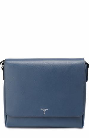 Кожаная сумка-планшет с внешним карманом на молнии Serapian. Цвет: темно-синий