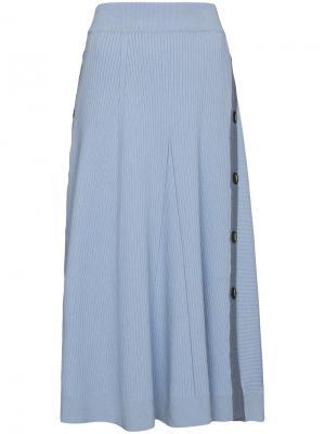 Трикотажная юбка на пуговицах Kaori Roksanda. Цвет: синий