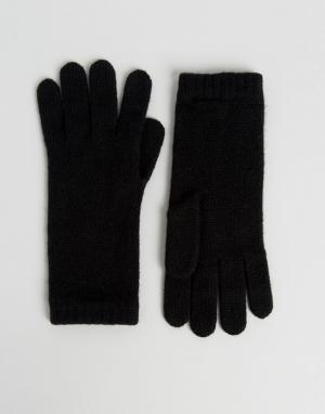 Johnstons of Elgin Черные кашемировые перчатки. Цвет: черный