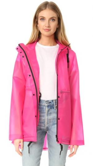 Оригинальная виниловая куртка с мелкими сборками Hunter Boots. Цвет: фуксия