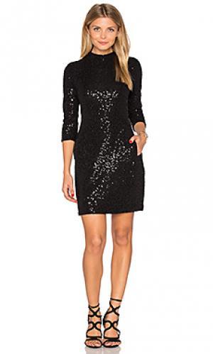 Украшенное мини платье с длинным рукавом Hoss Intropia. Цвет: черный