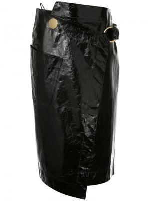 Лакированная юбка с запахом Petar Petrov. Цвет: чёрный