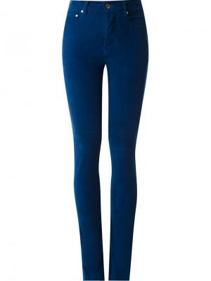 High waisted velvet skinny trousers Amapô. Цвет: синий