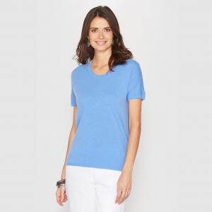 Пуловер из акрила с короткими рукавами, кашемировым эффектом на ощупь ANNE WEYBURN. Цвет: бежевый,ванильный