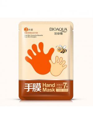 Увлажняющая маска-перчатки для рук с экстрактом мёда Bioaqua. Цвет: белый