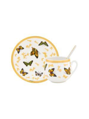 Кофейная пара Бабочки Elan Gallery. Цвет: белый,зеленый,оранжевый,золотистый