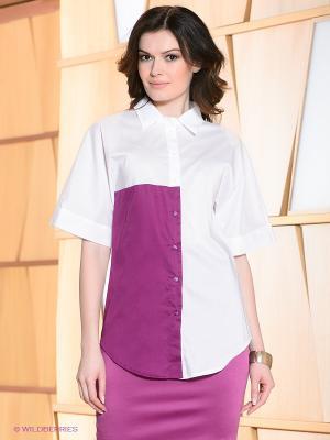 Блузка Allezye. Цвет: белый, лиловый