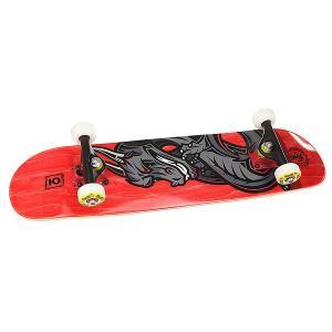 Скейтборд в сборе детский  Dragon Red 28 x 7 (17.8 см) Юнион. Цвет: красный,серый,черный