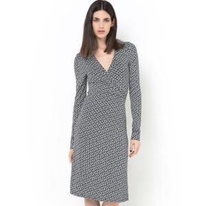 Платье с запахом, длинными рукавами и расклешенной юбкой из материала стретч La Redoute Collections. Цвет: набивной рисунок