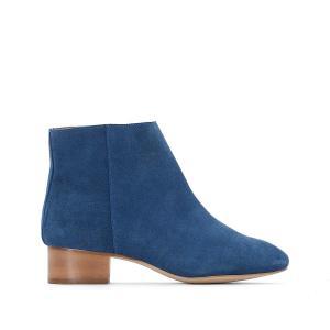 Ботильоны кожаные на среднем каблуке La Redoute Collections. Цвет: синий