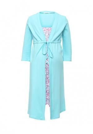 Комплект сорочка и халат Hunny mammy. Цвет: разноцветный