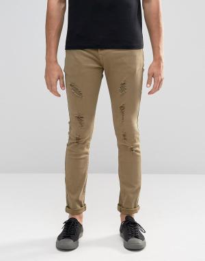Always Rare Зеленые супероблегающие джинсы. Цвет: зеленый