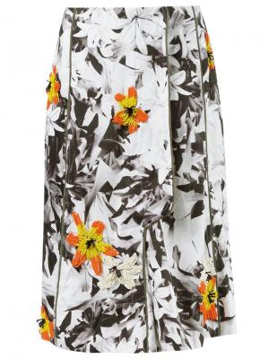 Floral embroidery flare skirt Isabela Capeto. Цвет: белый
