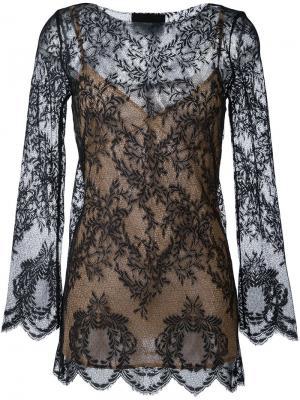Кружевная блузка Erika Cavallini. Цвет: чёрный