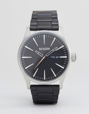 Nixon Черные наручные часы из матовой стали Sentry SS. Цвет: черный