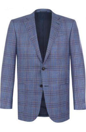 Однобортный пиджак из смеси шерсти и шелка со льном Ermenegildo Zegna. Цвет: голубой