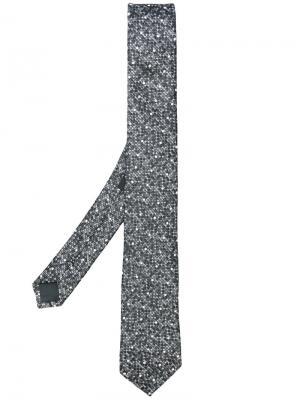 Галстук с вышивкой Z Zegna. Цвет: серый