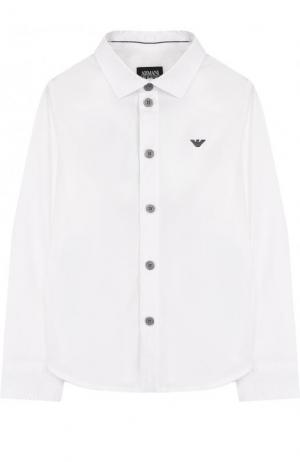 Хлопковая рубашка Armani Junior. Цвет: белый