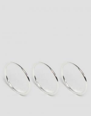 Pilgrim 3 посеребренных кольца. Цвет: серебряный