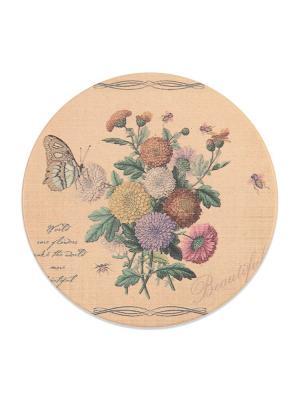 Подставка под горячую чашку ,круглая Георгины  DAVANA. Цвет: светло-зеленый, бежевый, желтый