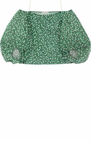 Шелковый топ с круглым вырезом и объемными рукавами Vika Gazinskaya. Цвет: зеленый