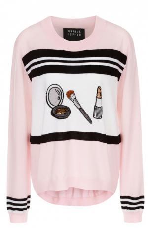 Пуловер с удлиненной спинкой и контрастным принтом Markus Lupfer. Цвет: розовый