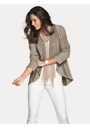 Кожаная куртка PATRIZIA DINI. Цвет: серо-коричневый