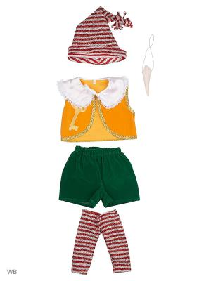 Карнавальный костюм БУРАТИНО Батик. Цвет: зеленый, белый, желтый