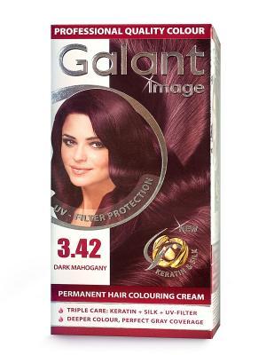Cтойкая крем-краска для волос  GALANT 3.42 темный махагон, 115 мл., (Болгария) Image. Цвет: зеленый