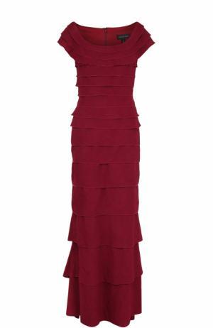 Платье-макси с круглым вырезом и оборками Tadashi Shoji. Цвет: бордовый